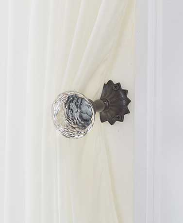 Vintage Door Knob Curtain Tie-Backs - Clear Diamond-Cut Glass
