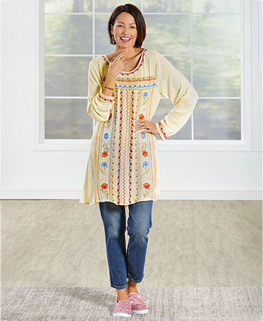 Lightweight Embroidered Ivory Tunic