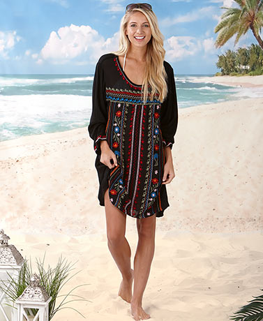 Lightweight Embroidered Black Tunic