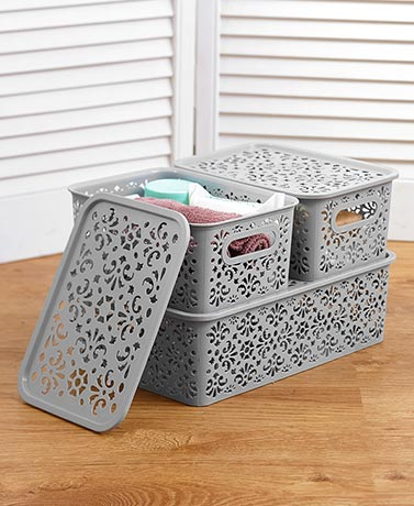 Sets of 3 Stackable Storage Bins with Lids