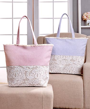 Oversized Lace and Canvas Zippered Totes