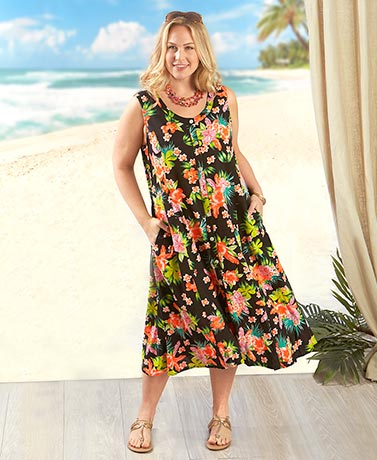 Floral Printed Dresses - Black