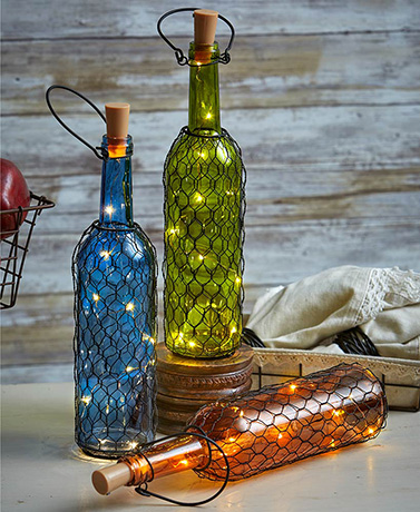 Fairy Light Chicken Wire Bottles