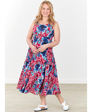 Breezy Floral Tiered Dress - Fuchsia