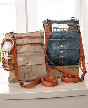 Leather Zip and Snap Crossbody Bags