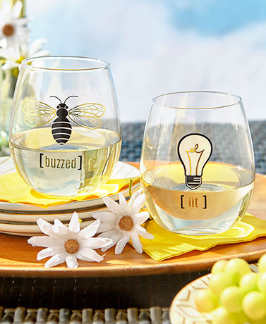 Buzzed and Lit Stemless Wine Glass Set