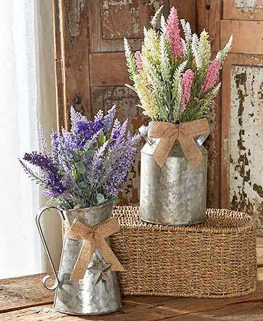 Galvanized Vase with Country Faux Flowers