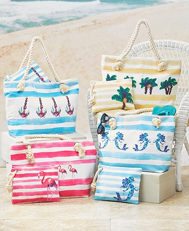 2-Pc. Rope Handle Tote Sets