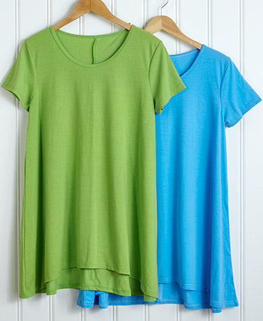 Set of 2 Swing Tunics - TurquoiseLime