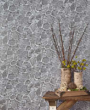 Peel and Stick PVC Wall Coverings - Gray Stone