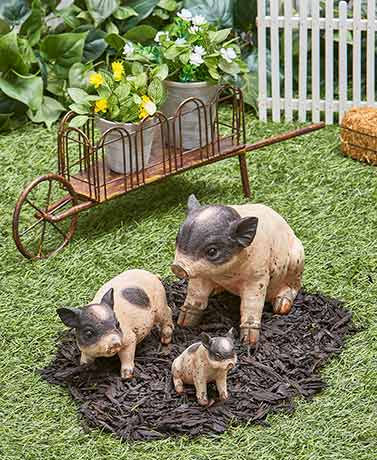 Farmhouse Pig Statues or Wheelbarrow