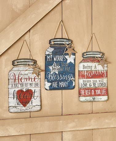 Metal Mason Jar Wall Hangings
