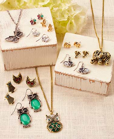 4-Pc. Animal Necklace and Earring Sets