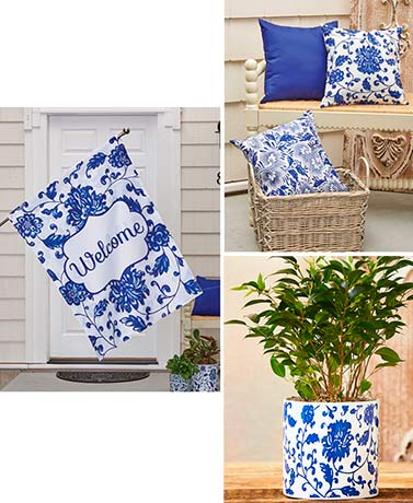 Blue and White Porch Decor