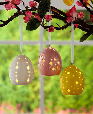 Set of 3 Ceramic LED Easter Eggs