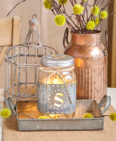 Monogram Mason Jar Accent Lights