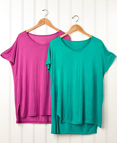 Set of 2 Side Slit Tunics - BerryJade