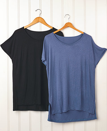 Set of 2 Side Slit Tunics - BlackIndigo