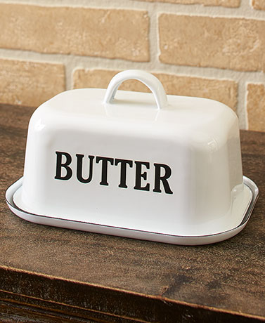Country Enamelware Butter Dish