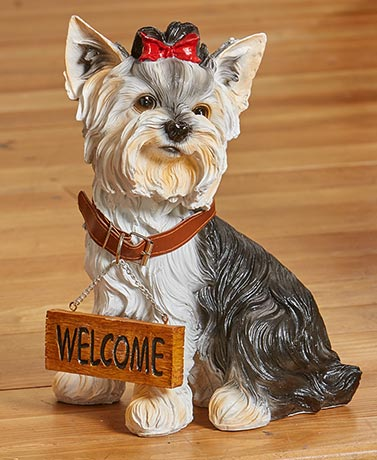Welcome or Beware Dog Breed Statues - Yorkie