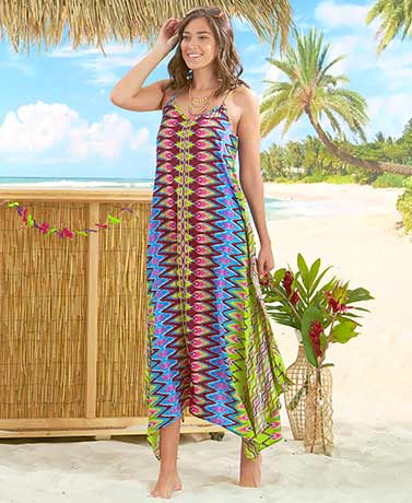Tropical Colored Breezy Scarf Dress - Zig Zag