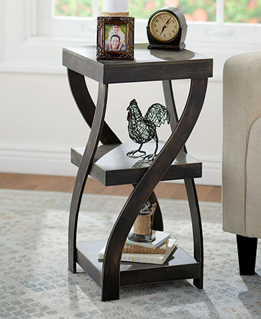 Antique Finish Twisted Side Tables - Distressed Black