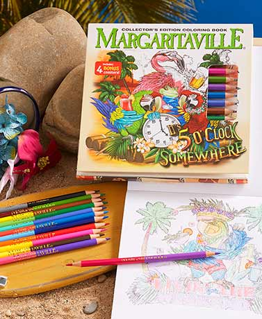 Margaritaville® Coloring Book and Pencils