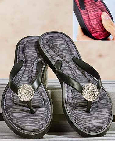 Memory Foam Sandals with Bling Accent