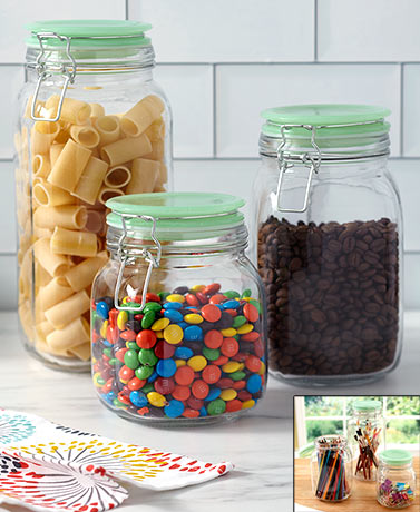 3-Pc. Nostalgic Glass Jar Canisters