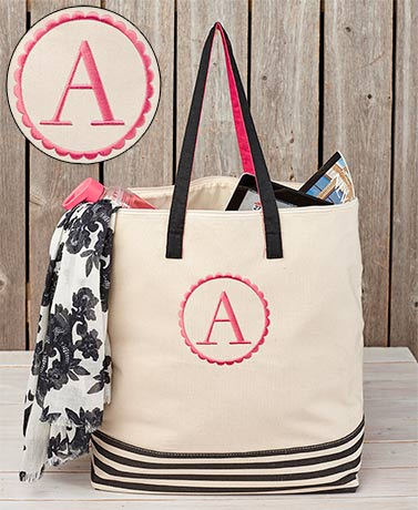 Oversized Canvas Monogram Zipper Totes