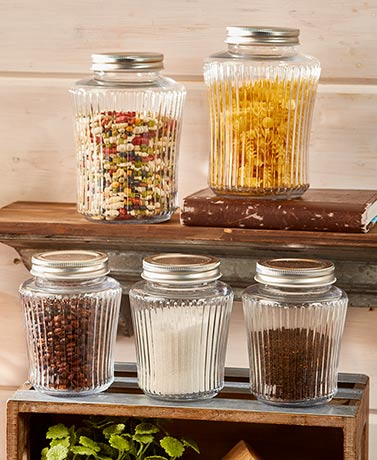 Multi-Use Vintage-Look Glass Jar Sets
