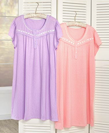 Women's Plus Set of 2 Nightgowns