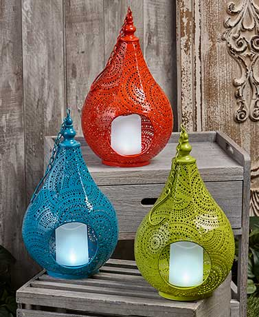Punched Metal Solar Candle Lanterns