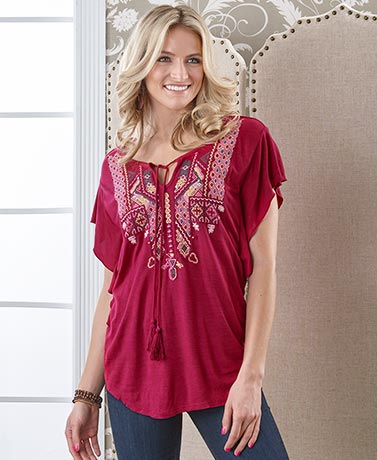Embroidered Flutter-Sleeve Tops