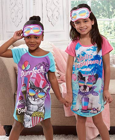 Girls' Slumber Party Nightgown with Eye Mask