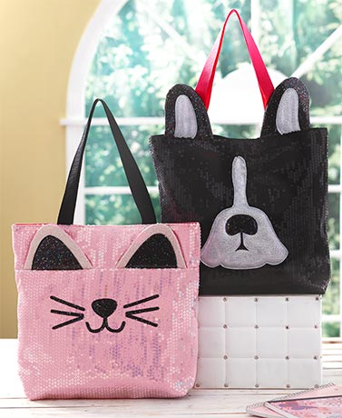 Cute Critter Sequin Totes
