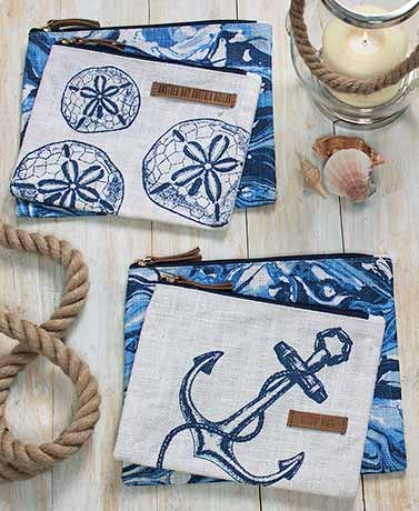 Sets of 2 Nautical Pouches with Leather Accents