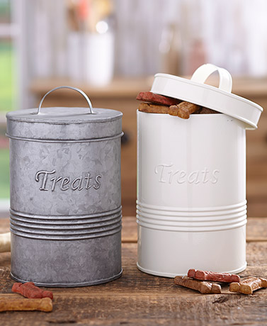 Retro Metal Pet Treat Canisters