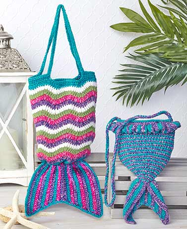 Crochet Mermaid Tail Crossbody or Tote Bags