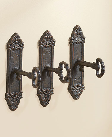 Sets of 3 Vintage Key-in-Lock Wall Hooks - Distressed Bronze