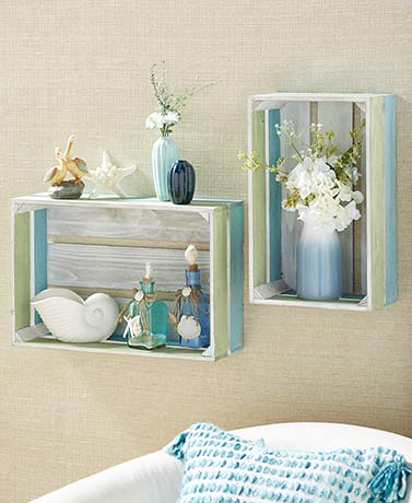 Sets of 2 Crate Wall Shelves