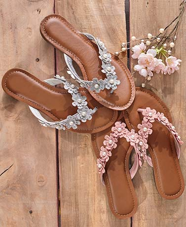 Women's Memory Foam Floral Trim Sandals