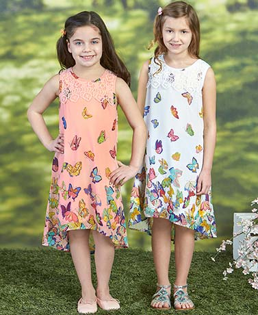 Girls' Lace Trim Butterfly Dresses