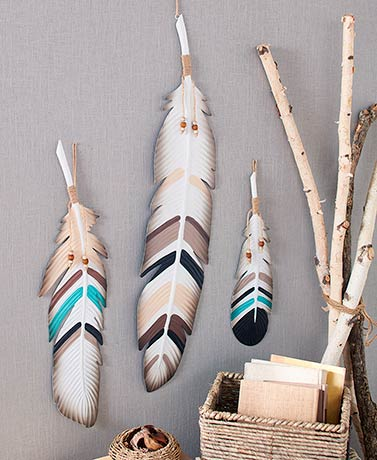 3-Pc. Metal Feather Wall Decor