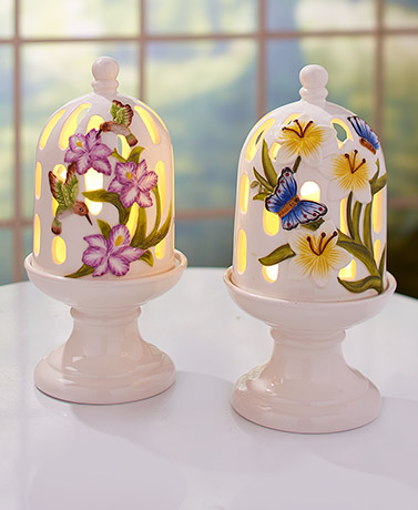 Lighted Ceramic Candle Domes