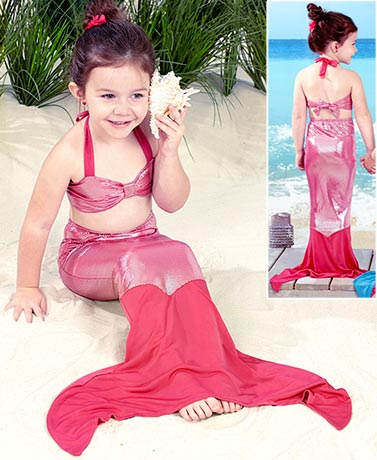 Girls' 3-Pc. SwimmableWalkable Mermaid Tail Sets