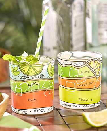 Set of 2 Tropical Drink Recipe Glasses