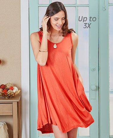 Curved Hem Swing Dress with Pockets - Orange