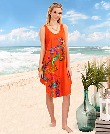 Colorful Print Swing Dresses