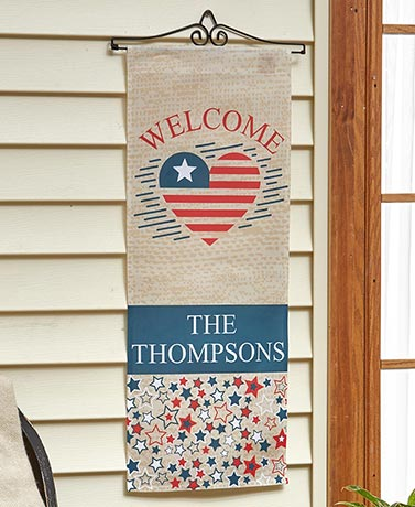 Personalized Decorative Door Banner with Rod - Americana Welcome